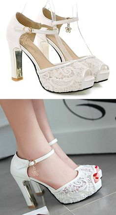 Sfnld Women's Sweet Peep Toe Low Cut Mesh Platform Ankle Strap High Chunky Heel Pumps Shoes with Buckle White 6 B(M) US