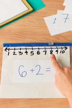 Create this DIY Slider Bag calculator for a fun way to answer your math questions!  Great way to put number lines at your students' fingertips.  Great for students with special learning needs.  Very visual and tactile.  Read more at:  http://www.hefty.com/handy-hints/articles/math-class-mastery/