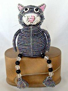 Cat Gray Kitten Shelf Sitter Wire Glass Beads Sculpture Beadworx Figure New   eBay