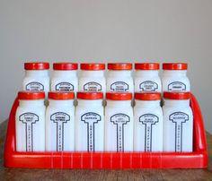 Milk Glass 1930's Spice Jars.