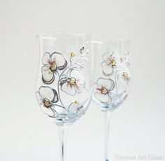 Orchids Wine Glasses Hand Painted set of 2 by NevenaArtGlass