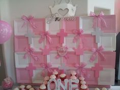 Backdrop for the PINK PRINCESS 1st Birthday & Baptism Dessert Tablescape that I designed and created for a client