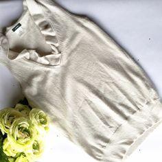 J. Crew Sleeveless Sweater Vest 55% wool, 30% nylon, 15% cashmere. Ruffled V-Neck. Light gray/stone color. EUC J. Crew Sweaters V-Necks