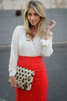 Red pencil skirt, silky blouse with polka dot clutch. Just need to add the clutch to my wardrobe to complete this look!
