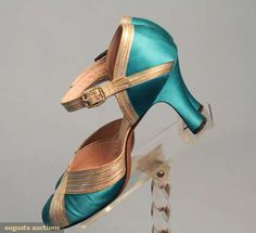 Terrifically pretty 1920s turquoise satin D'Orsay pumps. @designerwallace