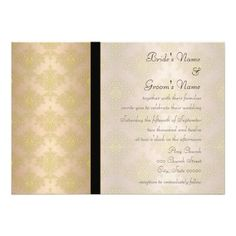 Gold and Peach Damask Wedding Invitations