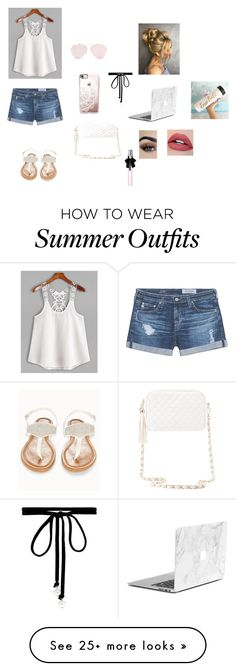"""""""summer outfit?"""" by pandabearcc on Polyvore featuring AG Adriano Goldschmied, Olivia Miller, Charlotte Russe, Casetify, Joomi Lim and Yves Saint Laurent"""
