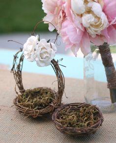 Love Birds Bird Nest Flower Girl Basket and Ring Bearer Pillow SET Shabby Cream Ivory Paper Roses Rustic CHIC