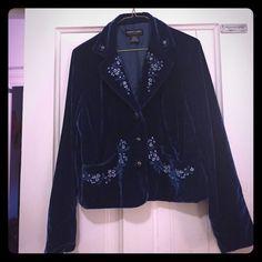 Blazer with fancy thread work and designs Velvet ladies blazer. Very fancy ! Worn once! It just doesn't fit me.  Robert louis new york london paris Jackets & Coats Blazers