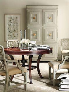 cabinet with decorative trim & pulls; framed print