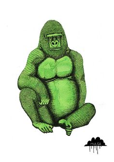 Gregory the Green Gorilla on Flickr.© Mulga 2012, Gregory the Green Gorilla, Ink and food dye on Paper, 15 x 21cmmulgatheartist.com.au/www.facebook.com/Mulgatheartist  Prints available at meylah.com/MulgaTheArtist  An Ode to Gregory the Green Gorilla  Gregory is green, Gregory is mean  Gregory don't participate in no team  This largish ape with a scowl on his face  Has hands as powerful as a largish mace  And not the kind that you spray  But the kind that when you see it you run away…