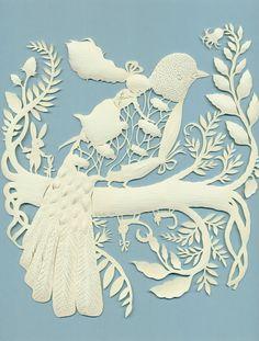 Elsa Mora paper cutting - girl riding a bird
