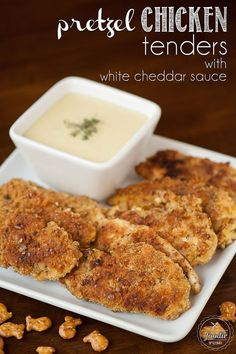 Pretzel Chicken Tenders with White Cheddar Sauce made with Goldfish pretzel crackers make the perfect game day recipe or kid friendly dinner. {Self Proclaimed Foodie}