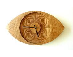Wood Wall Clock - Unique Wall Clock - Wood Wall Decor - Modern Home Decor - Modern Wall clock - Big Eye - solid oak.