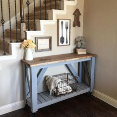 """My current entryway... Also serves as my timeout rug  it's a multipurpose space really.... I've tagged my sources!  Free plans to build the table and…"""