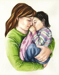Illustration Art Print of Mother Rocking Child by RebeccaEvans,
