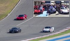 PICTURE EXCLUSIVE: The £3million drag race! Jeremy Clarkson challenges James May and Richard Hammond to race three rare supercars for new Amazon show