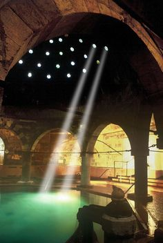 """Rudas Thermal Bath, Budapest   """"The building dates from the 16th century, when the occupying Turks were constructing bathing facilities to make the most of the city's 80 geothermal springs. The Ottoman influence can still be seen in the octagonal pool, covered by a huge dome and supported by eight pillars, and the six steam pools."""" The Guardian. #Budapest #Bath #Spa"""