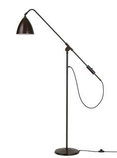 GUBI // Bestlite M floor lamp in all black brass Air Force Engineering, Black Floor Lamp, Floor Lamps, Architects Journal, Contemporary Classic, Victoria And Albert Museum, Design Museum, Scandinavian Design, Innovation