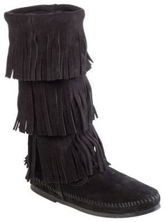 Minnetonka Moccasin 3-Layer Fringe Boots for Ladies - Black - 11M