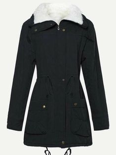 To find out about the Drawstring Waist Faux Fur Lined Parka Coat at SHEIN, part of our latest Outerwear ready to shop online today! Winter Coats Women, Coats For Women, Jackets For Women, Peplum Jacket, Sequin Jacket, Parka Coat, Drawstring Waist, Outerwear Jackets, Fashion News