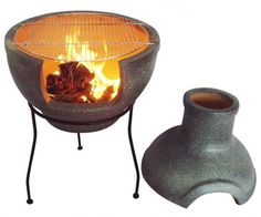Large sized clay chimenea in a grantie effect finish. This chimenea converts into a barbeque by taking the top off the chimenea. Not only can you keep warm but you can entertain your guests and cook for them too. The chimenea comes complete with stand. Clay chimeneas only need a small fire to heat up as they are very efficient and can hold heat for a long time afterwards. Also available in medium in various colours.
