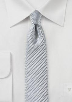 Businesskrawatte schlank Linien-Struktur hellgrau