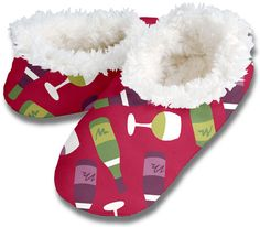 Red Wine Slippers by Snoozies, $10.00