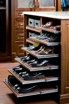 Pull Out Shoe Shelves - Design photos, ideas and inspiration. Amazing gallery of interior design and decorating ideas of Pull Out Shoe Shelves in closets, nurseries, laundry/mudrooms, kitchens by elite interior designers. Closet Bedroom, Master Closet, Closet Space, Bedroom Decor, Master Suite, Bedroom Green, Bedroom Furniture Sets, Master Bedrooms, Bedroom Ideas