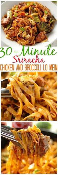 30 Minute Sriracha Chicken and Broccoli Lo Mein Spicy, saucy, and full of flavor – this Sriracha Chicken and Broccoli Lo Mein is a million times tastier than any take-out you've ever had! An incredibly easy a I Love Food, Good Food, Yummy Food, Asian Recipes, Healthy Recipes, Easy Recipes, Sriracha Recipes, Free Recipes, Ethnic Recipes