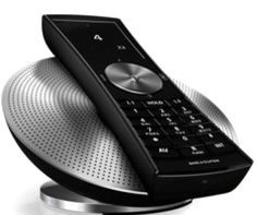 New BeoCom 5 cordless phone from Bang & Olufsen. This device is a two-line cordless phone that will boast a cordless speakerphone, VoIP support and an integrated phonebook and graphic display.