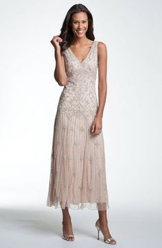 V-neck Beaded Sequin Gown - Lyst