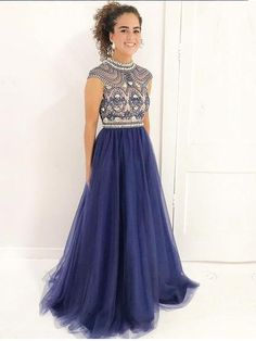 2018 Delicate Beading High Neckline Navy Tulle Long Evening Prom Dresses, 17343 The LongEvening Prom Dressesarefully lined, 8bones in the bodice, chest pad