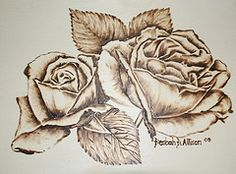 wood burned Roses, pyrography