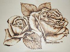 wood burned Roses, pyrography