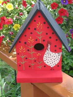 Country Chicken Corn Birdhouse handmade and hand painted ooak