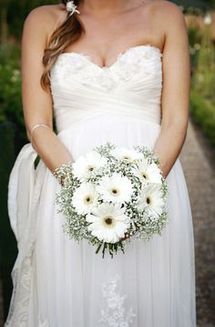 Wedding White Gerbera Gypsophila Bouquet Bridal http://schryverphoto.com/
