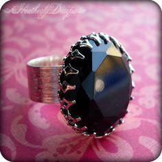 Under the Milky Way: vintage jet black glass jewel and polished silver adjustable ring