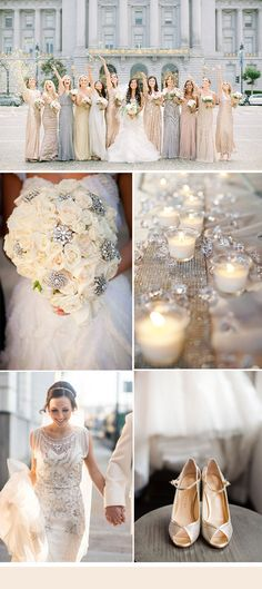 silver and champagne neutral glamour wedding colors