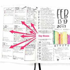 Get ideas and learn how to make bullet journal weekly spreads — 11 free printables, ideas, free galleries, and an interactive quiz. Monthly Bullet Journal Layout, Daily Bullet Journal, Bullet Journal Tracker, Bullet Journal Printables, Bullet Journal Hacks, Bullet Journal How To Start A, Journal Template, Bullet Journal Spread, Journal Organization