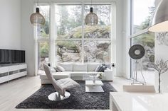 This modern stone house by Lammi-Kivitalot adapts perfectly to its surrounding nature offering fantastic views from the great room windows throughout the year. My Dream Home, Dream Homes, House Plans, Sweet Home, Interior Design, Modern Interiors, Lofts, Furniture, Living Rooms