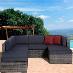Atlantic Clermont 4-Person Resin Wicker Patio Sectional Set : Ultimate Patio