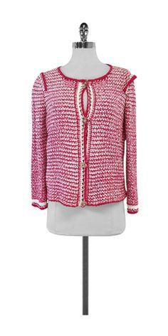 Escada Pink & White Knit Cardigan