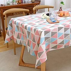 Scandinavian Style Triangular Lattice Pattern Linen Tablecloth Thick Wear Resistant Durable Decorative Cloth A