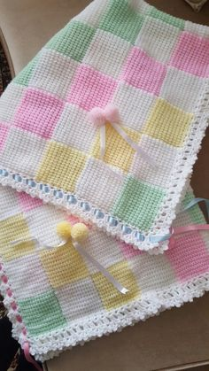Hand-Knitted Crochet Bobble Heart and Bowknot Blanket Free Pattern - Lap Blanket, Crochet Craft, Pink Blanket Crochet Bobble Blanket, Tunisian Crochet, Afghan Crochet Patterns, Baby Knitting Patterns, Baby Patterns, Crochet Squares, Stitch Patterns, Design Patterns, Manta Crochet