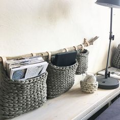 Gehäkelte Wandkörbe aus Textilgarn – Keep up with the times. Grey Striped Wallpaper, Rustic Baby, Textiles, Crochet Home, Baskets On Wall, Home Crafts, Fabric Crafts, Crochet Projects, Knitting Patterns