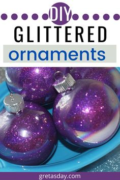 The holidays are all about sparkle and glitter. Learn how to make DIY Glittered Christmas Ornaments that aren't going to shed. YEP! This easy to follow how to tutorial shows you step by step. Great for Christmas, Valentine's Day, Halloween, or even Easter trees. Good for wreaths and swags, too. Christmas Balls Diy, Christmas Glitter, Magical Christmas, Christmas Bulbs, Merry Christmas, Christmas Gifts, Glitter Crafts, Glitter Ornaments, Ball Ornaments
