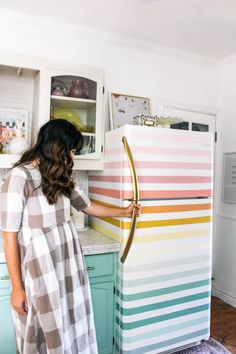 how to paint a rainbow fridge- easy and affordable. How to paint a boring white fridge and ideas for how to paint it fun colors- pink, orange, yellow, green, and blue Design Case, Diy Design, Diy Home Decor, Room Decor, Small Patio, Home Projects, Home Kitchens, Orange Yellow, Blue