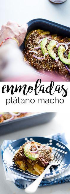 Receta de enmoladas de plátano macho, una receta auténtica mexicana, una receta super fácil de preparar, saludable y en versión vegana.#partner