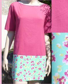 Kit prêt-à-coudre de robe Dakar toute simple, Bi-colore uni/imprimé, En vente sur les-fees.fr 32€ (comprenant les tissus, les 2 patrons (à votre taille), le fil et le biais. Bonne couture !